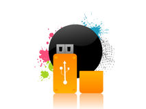 Flash drive. On abstract background stock illustration
