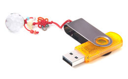 Flash drive with accessory. Royalty Free Stock Photo