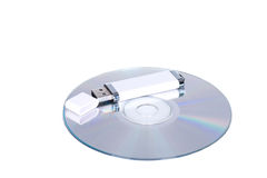Flash drive and cd or dvd. USB flash drive and cd or dvd Royalty Free Stock Image