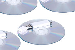 Flash drive and cd or dvd Royalty Free Stock Image