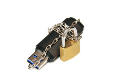 Flash drive chain wrapped and sealed off. Royalty Free Stock Photos