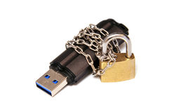 Flash drive chain wrapped and sealed off. Stock Image
