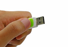 Flash drive on hand holding Stock Photo
