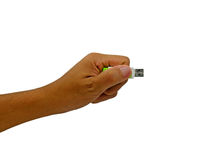 Flash drive on hand holding royalty free stock photo