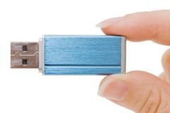 Flash drive in hand isolated Stock Photography