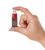 Flash drive in hand Stock Image
