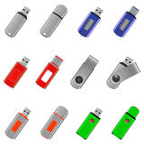 Flash drive icons set Royalty Free Stock Image