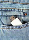 Flash Drive in the Pocket Royalty Free Stock Photos