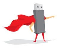 Flash drive super hero saving the day Stock Photo