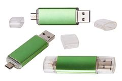 Flash Drive template USB memory. Green USB flash memory royalty free stock photography