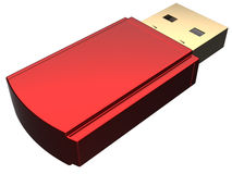 Flash drive usb (Hi-Res). Red shiny USB flash storage card. 3D render. Isolated on white Royalty Free Stock Photos