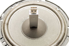 A flash drive USB and speaker. Digital sound Stock Photo