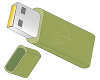 Flash drive on white background. Usb flash memory isolated on the white background Royalty Free Stock Photography