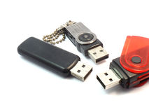 Flash Drives on isolated Stock Photos