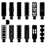 Flash drives silhouette set. 12 flash drives silhouette set Royalty Free Stock Image