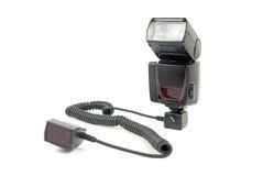 Flash esterno connesso al cavo del pattino della fuori-macchina fotografica Fotografia Stock Libera da Diritti