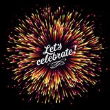 Festive New Year`s salute. A flash of fireworks on a dark background. A bright burst of festive lights. Congratulation. A flash of fireworks on a dark royalty free illustration