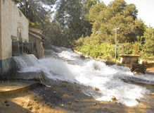 Flash Flood. Flsh flood pouring through a Mexican village royalty free stock photography