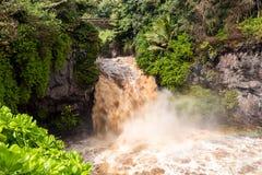 Flash flood at the Seven Sacred Pools. Maui, Hawaii royalty free stock image