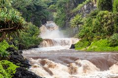 Flash flood at the Seven Sacred Pools. Maui, Hawaii royalty free stock photography