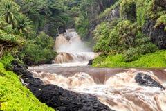 Flash flood at the Seven Sacred Pools. Maui, Hawaii stock photography