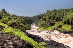 Flash flood at the Seven Sacred Pools. Maui, Hawaii stock images