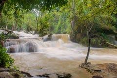 Flash flood in Waterfall at Tat Kuang Si Luang prabang, Laos Royalty Free Stock Image