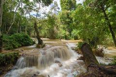 Flash flood in Waterfall at Tat Kuang Si Luang prabang, Laos Stock Photo