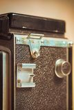 Flash foot old analog photo camera. stock image