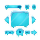 Flash Game Screen And Buttons Covered With Ice Royalty Free Stock Images