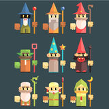 Flash Game Wizard Set. Of Flat Primitive Stylized Graphic Design Vector Icons  On Dark Background Royalty Free Stock Images