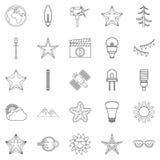 Flash icons set, outline style Stock Photo
