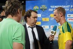 Flash interviews with FC Kuban midfielder Vladislav Ignatiev at halftime with FC Ufa Royalty Free Stock Image