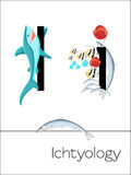 Flash-Karten-Buchstabe I ist für Ichtyology Lizenzfreies Stockfoto