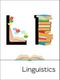 Flash-Karten-Buchstabe L ist für Linguistik Stockbild