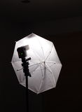 Flash light speed light on stand with white umbrella Stock Image