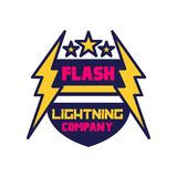 Flash lightning company logo template, badge with lightning symbol, design element for business badge vector. Illustration on a white background Royalty Free Stock Photos