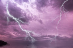 Flash lightning over the ocean Royalty Free Stock Photo