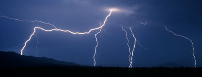 Flash of lightning during thunderstorm Stock Image