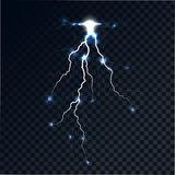 Flash of a lightning. On a translucent background. The category of energy, the bright shining arch. Realistic lighting effect. Vector abstract background Royalty Free Stock Images