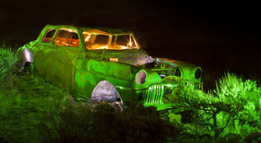 Flash Lit Old Car Royalty Free Stock Photography