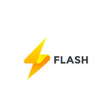 Flash Logo design vector template. Thunderbolt symbol.Energy Power electric speed creative Logotype concept Stock Photos