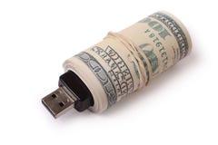 Flash memory card and dollars Stock Photos