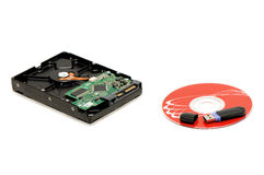 Flash memory, computer disk and hard disk Stock Image