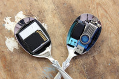 Flash memory, sd card, compact flash on spoon Stock Photo