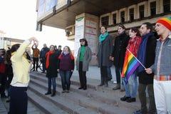 Flash mob against gender inequality. KHARKIV, UKRAINE - MARCH 8, 2017: Flash mob against patriarchal pressure towards women in Ukraine Stock Photo
