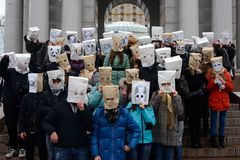 Flash mob. Anonymous in Kiev royalty free stock photo