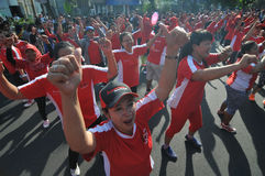 Flash Mob during Car Free Day Stock Photography