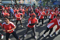 Flash Mob during Car Free Day Stock Images