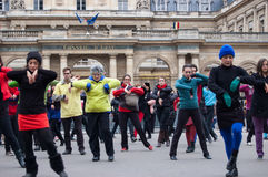 Flash mob dance in Paris Royalty Free Stock Image
